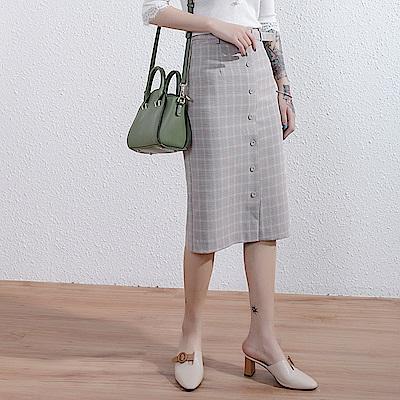 SQUA 格紋高腰包臀裙(附腰帶) -二色