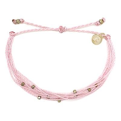 Pura Vida 美國手工 金色Malibu串珠 粉色臘線衝浪手鍊手環