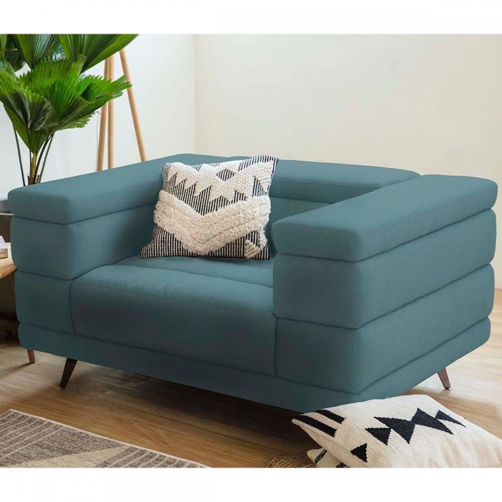 hoi! 可調整頭枕雙扶手單人布沙發-藍綠色 (不含腳凳) (H014280487)