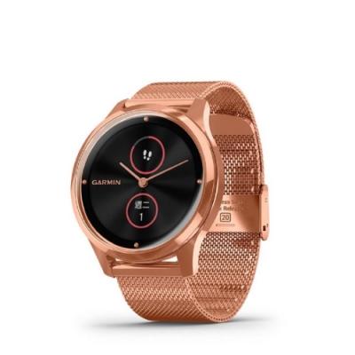 GARMIN vivomove luxe 指針智慧腕錶(米蘭式編織錶帶) 血氧監測