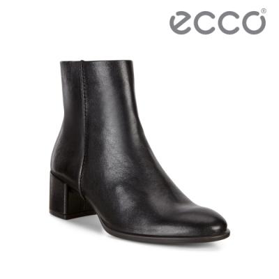 ECCO SHAPE 35 BLOCK 風格舒適牛皮方跟短靴 女-黑