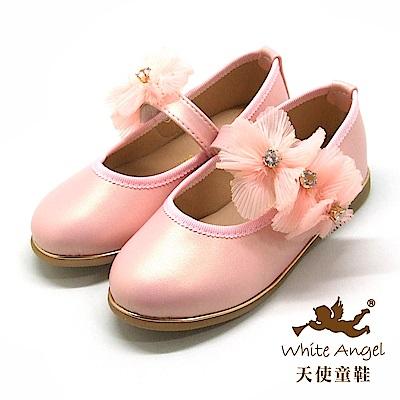 天使童鞋 優雅莉絲朵公主鞋(中-大童) JU8008-粉