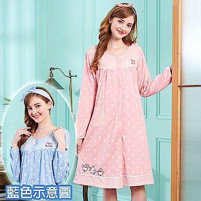 睡衣 點點小鴨 針織棉長袖連身睡衣(R75206-10藍色) 蕾妮塔塔