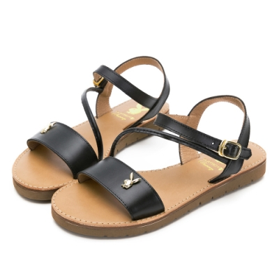 PLAYBOY悠閒假期斜帶真皮涼鞋-黑-Y6222CC