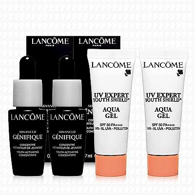 LANCOME蘭蔻 超未來肌因賦活露7mlx2+超輕盈UV水凝露10mlx2