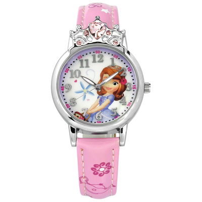Disney 迪士尼米奇系列小公主蘇菲亞皇冠造型兒童卡通皮革手錶-白x粉/30mm