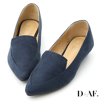 D+AF 都會俐落.絨料尖頭金屬低跟鞋*藍