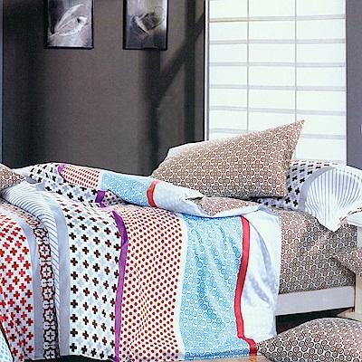 FOCA古色古香-特大-100%精梳純棉四件式兩用被床包組