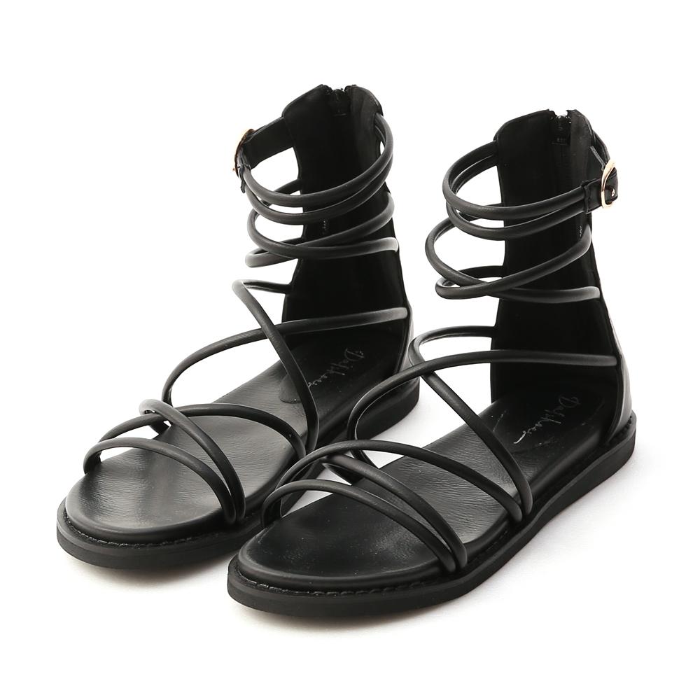 D+AF 真夏個性.雙交叉細帶羅馬涼鞋*黑