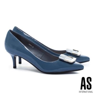 高跟鞋 AS 典雅半方型金屬釦飾牛軟漆皮尖頭高跟鞋-藍