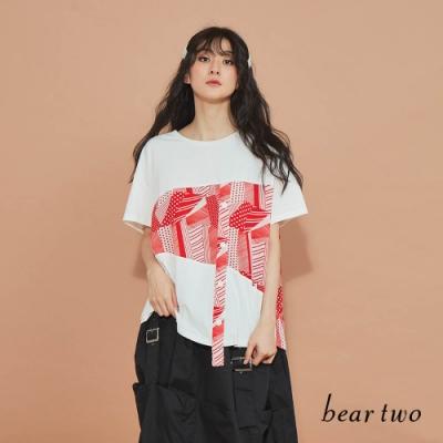beartwo-不對稱抽象圖騰長上衣-白