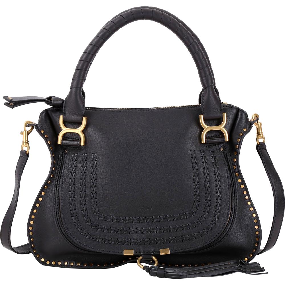 (無卡分期12期)CHLOE 中型編織鉚釘小牛皮兩用Marcie Bag(黑色) @ Y!購物