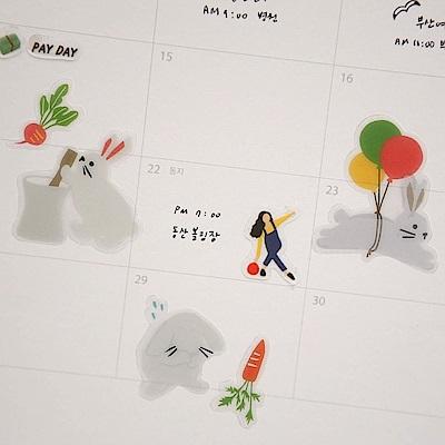 Dailylike 日日美好裝飾透明貼紙-27兔子