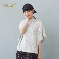【Dailo】問號滿天飛下擺寬鬆飛鼠袖短袖帽T(二色)