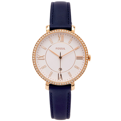 FOSSIL 鑽鑲優雅風皮革女性手錶(ES4291)-白面X藍色/36mm