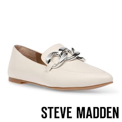STEVE MADDEN-FAMED 銀飾扣皮質平底鞋-米杏色