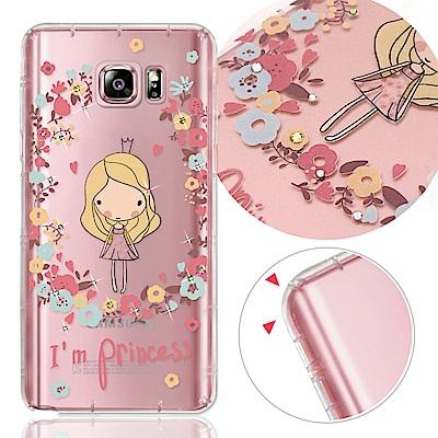 VAT 三星 Galaxy Note5 奧地利水晶彩繪氣墊手機鑽殼-花樣女孩