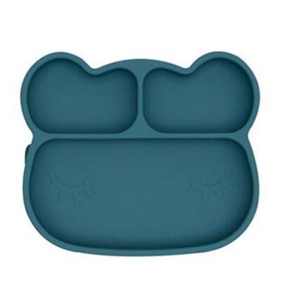 澳洲We Might Be Tiny 矽膠分隔餐盤熊寶寶-孔雀藍