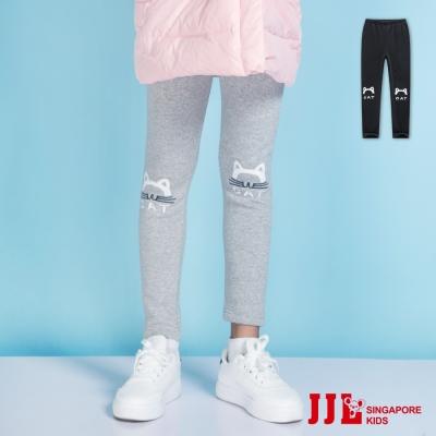 JJLKIDS 貓咪電繡棉質內刷毛保暖內搭褲(2色)