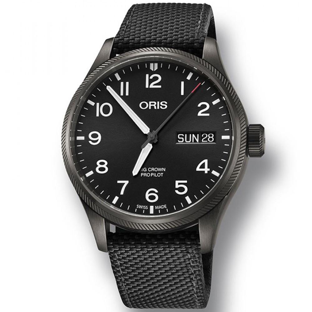 ORIS 豪利時 Big Crown Propilot 大表冠飛行員腕錶-黑45mm