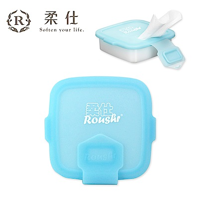 【Roaze 柔仕】專利矽膠抽取盒 + 乾濕兩用布巾(20片) - 艾莎藍