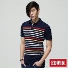 EDWIN POLO衫 時尚條紋休閒POLO衫-男-丈青