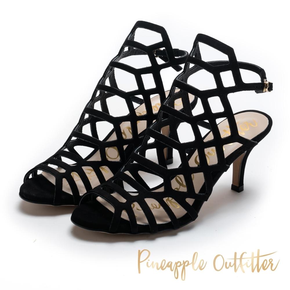 Pineapple Outfitter-露趾網形細高跟涼鞋-絨黑