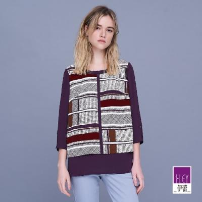 ILEY伊蕾 典雅塗鴉感拼接雪紡上衣(紫)