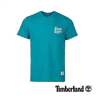 Timberland 男款藍綠色帆船鞋印花短袖T恤 A1M26