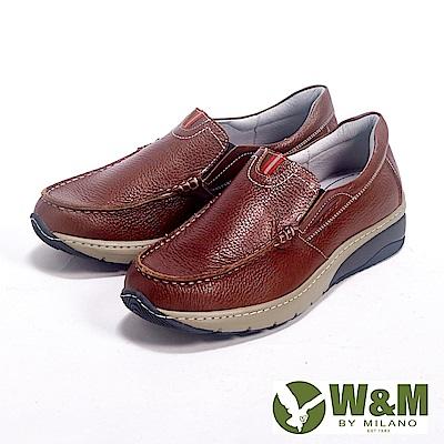W&M Fit 系列 健走健塑鞋 亮皮直套休閒男鞋-咖