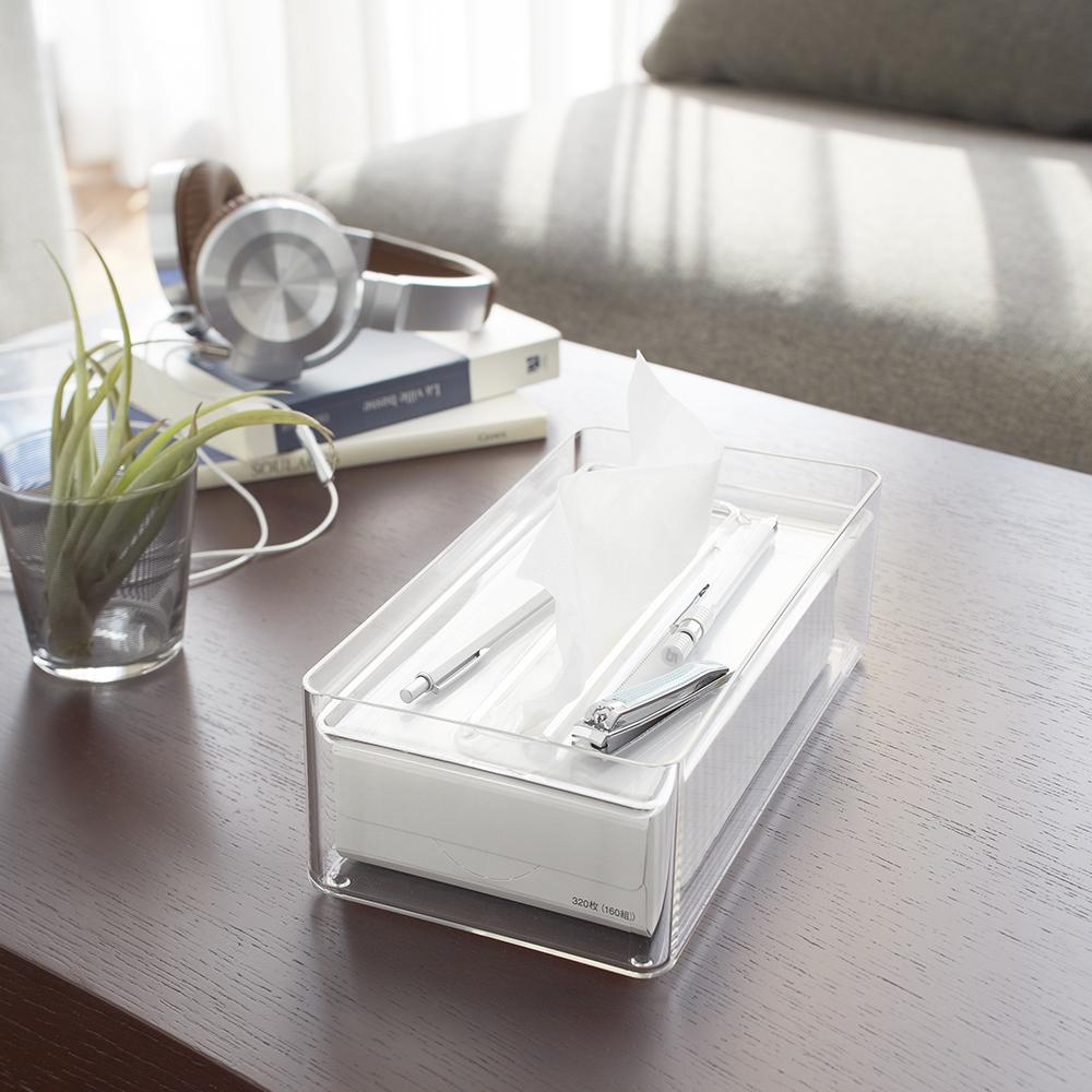 【YAMAZAKI】LUXS晶透收納面紙盒-透明★衛浴收納/居家收納/衛生紙