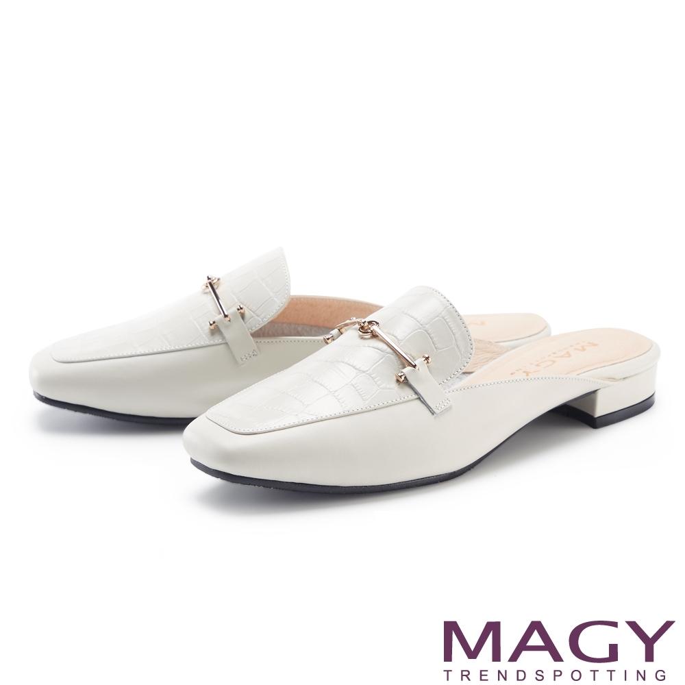 MAGY 鱷魚壓紋金屬真皮低跟 女 穆勒鞋 米白