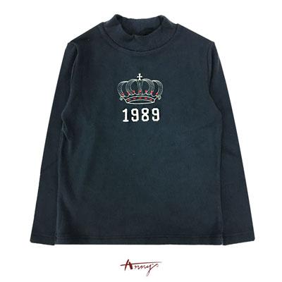 Annys1989字母皇冠塗鴉造型長袖上衣*6488藍