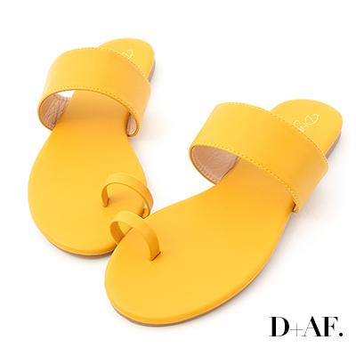 D+AF 夏日微醺.一字寬帶套指涼拖鞋*黃