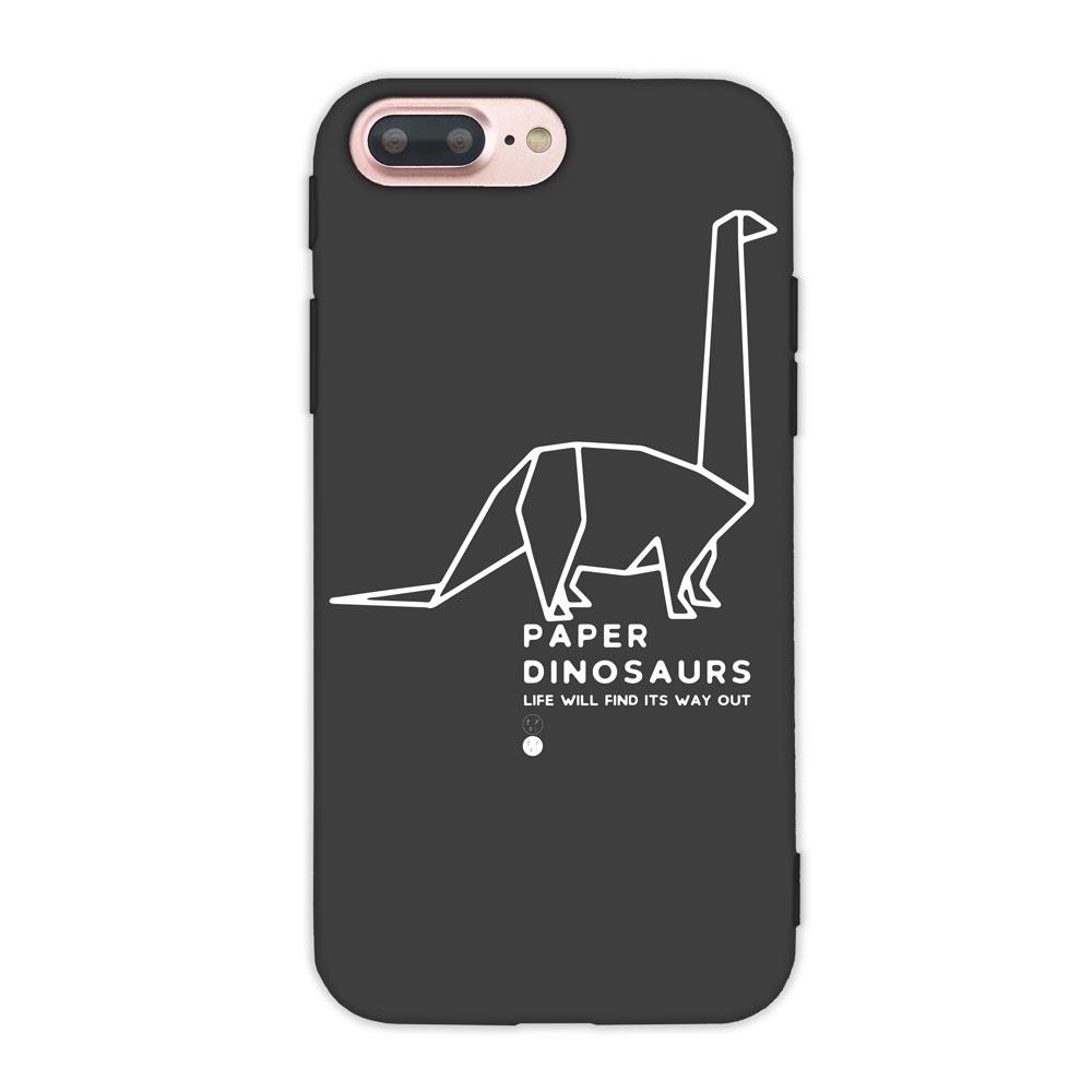 【TOYSELECT】iPhone 7/8 Plus 幾何恐龍設計手機殼:雷龍 (黑色)