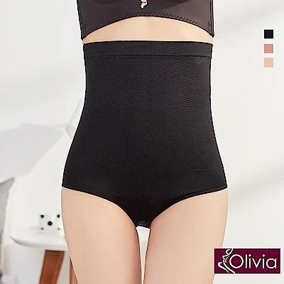 Olivia 彈力高腰收腹提臀三角塑身褲-黑色