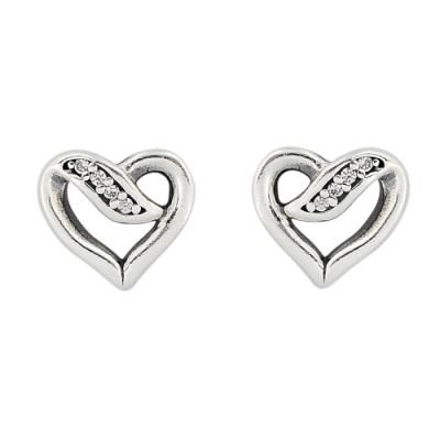 Pandora 潘朵拉 魅力鑲鋯緞帶之心  純銀耳環