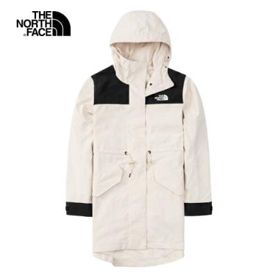 The North Face北面女款米色防水透氣連帽衝鋒衣|4U9O11P