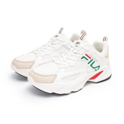 【FILA】BEATS TRACER 復古慢跑鞋 女鞋-米(5-J526U-162)