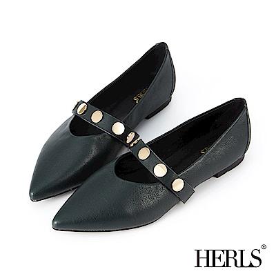 HERLS 美好年代 全真皮金釦橫帶瑪莉珍平底鞋-墨綠
