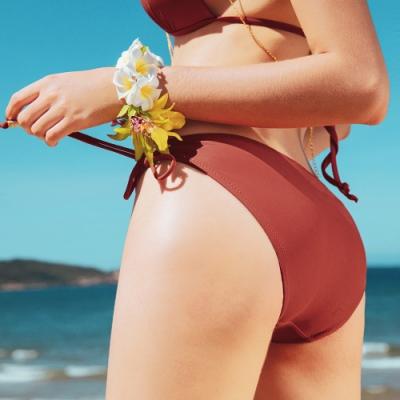 AIR SPACE 素色側綁帶美臀泳褲(紅棕) 女款 女生泳褲 泳裝 低腰 高腰 泳褲 三角泳褲 中大尺碼