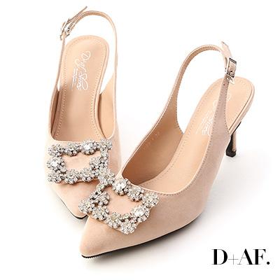 D+AF 華麗指標.水鑽飾釦後空尖頭高跟鞋*杏