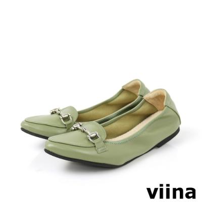 viina 尖頭馬銜釦摺疊娃娃鞋-淺墨綠