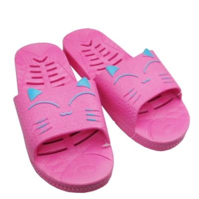 笑咪咪浴室拖鞋 4雙入 -女-水藍色/粉紅色