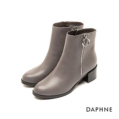 達芙妮DAPHNE 短靴-素色圓頭個性金屬圓環粗跟短靴-灰