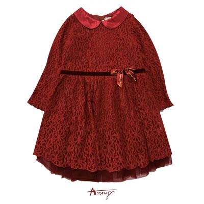 Annys氣場紅高級訂製蕾絲緞質領禮服*6203紅