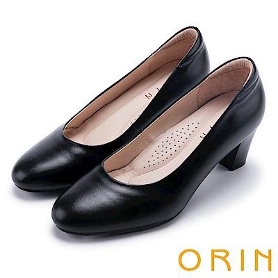 ORIN 簡約時尚OL 細緻羊皮百搭素面粗跟鞋-黑色