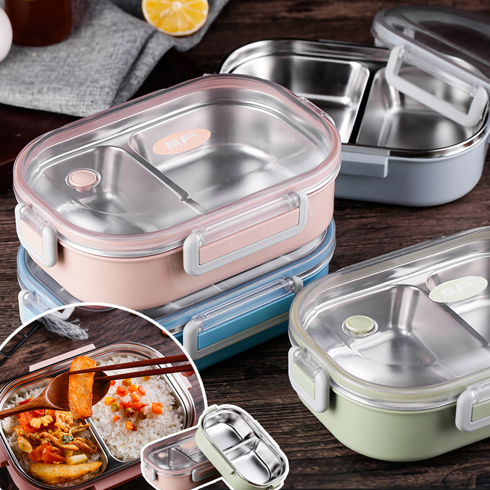 EZlife304不鏽鋼分格便當盒(贈環保餐具3件組)