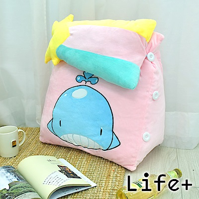 Life Plus 萌趣造型舒壓絨毛萬用靠枕/抱枕/腰靠枕 (鯨魚)