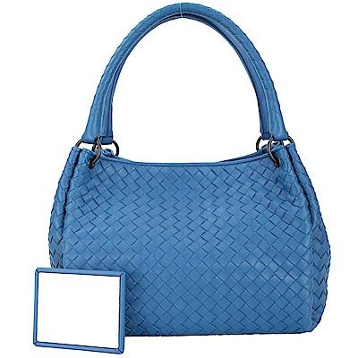 BOTTEGA VENETA Parachute 小羊皮編織手提包(藍色)